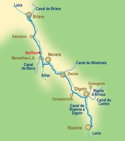 canal de briare carte Le Canal Latéral à la Loire