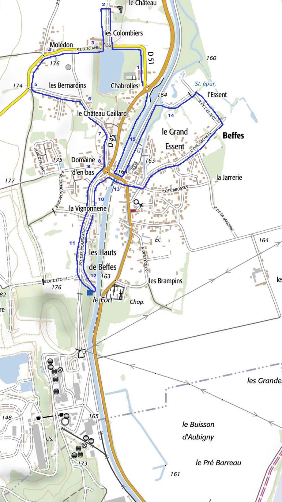 Plan beffes geoportail circuit 1